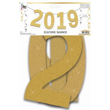 2019 Gold Diamond Glitter Banner