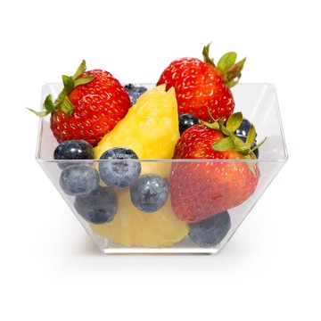 "3.5"" Clear Plastic Square Serving Bowls (8 Pack)"