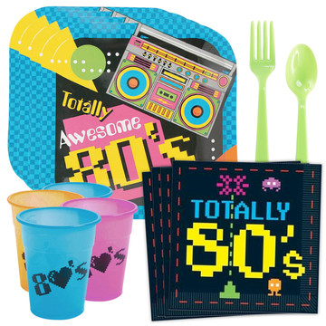 80's Party Standard Tableware Kit (Serves 24)