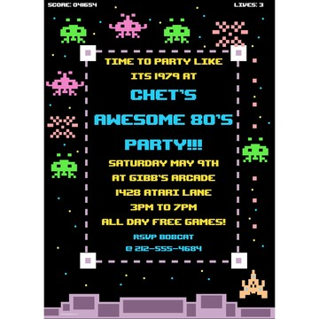 80's Personalized Invitation (Each)