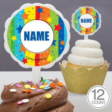 A Year To Celebrate Personalized Cupcake Picks (12 Count)