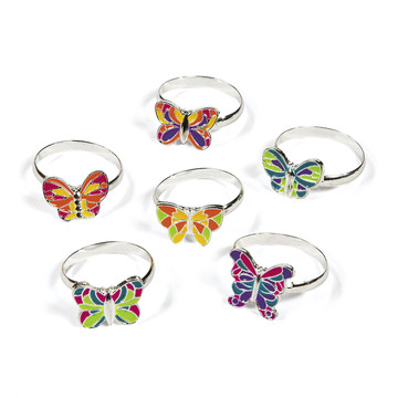 Adjustable Butterfly Rings(12)