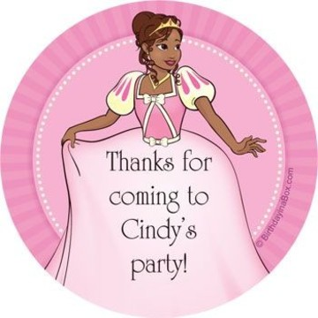 African American Princess Personalized Stickers (sheet of 12)