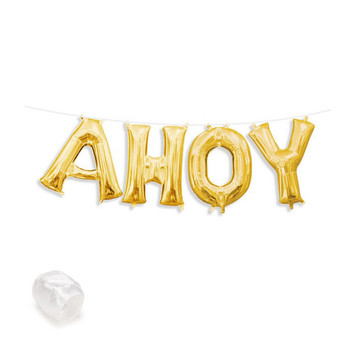 """Air-Fillable 13"""" Gold Letter Balloon Banner Kit """"AHOY"""""""