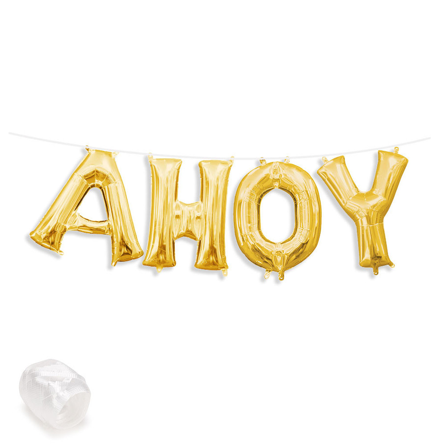 """View larger image of Air-Fillable 13"""" Gold Letter Balloon Banner Kit """"AHOY"""""""
