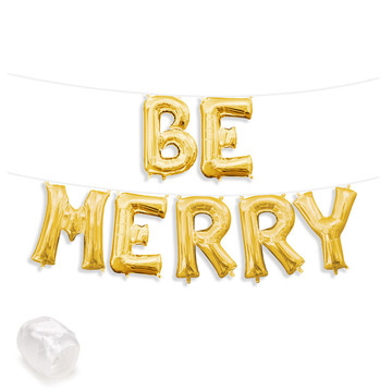 "Air-Fillable 13"" Gold Letter Balloon Banner Kit ""BE MERRY"""