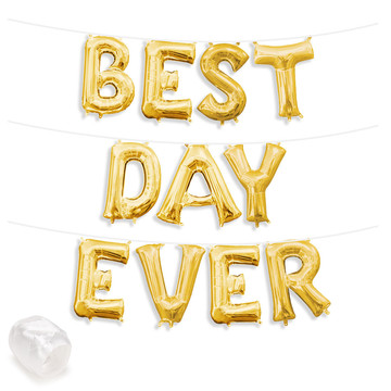 """Air-Fillable 13"""" Gold Letter Balloon Banner Kit """"BEST DAY EVER"""""""