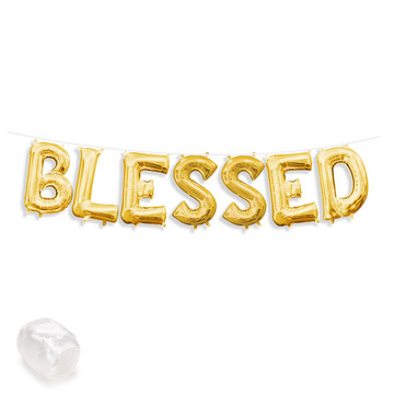 "Air-Fillable 13"" Gold Letter Balloon Banner Kit ""BLESSED"""