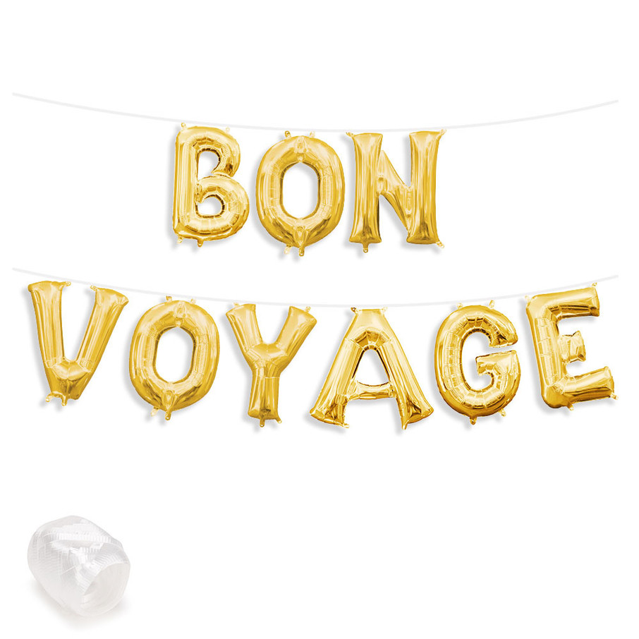 "View larger image of Air-Fillable 13"" Gold Letter Balloon Banner Kit ""BON VOYAGE"""