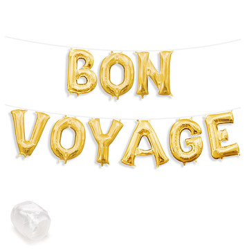 "Air-Fillable 13"" Gold Letter Balloon Banner Kit ""BON VOYAGE"""