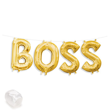 "Air-Fillable 13"" Gold Letter Balloon Banner Kit ""BOSS"""