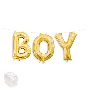 "Air-Fillable 13"" Gold Letter Balloon Banner Kit ""BOY"""