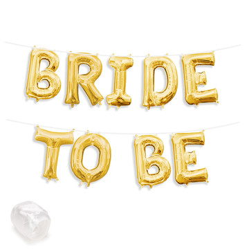 "Air-Fillable 13"" Gold Letter Balloon Banner Kit ""BRIDE TO BE"""