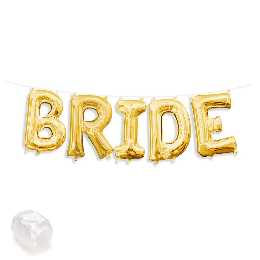 """View larger image of Air-Fillable 13"""" Gold Letter Balloon Banner Kit """"BRIDE"""""""
