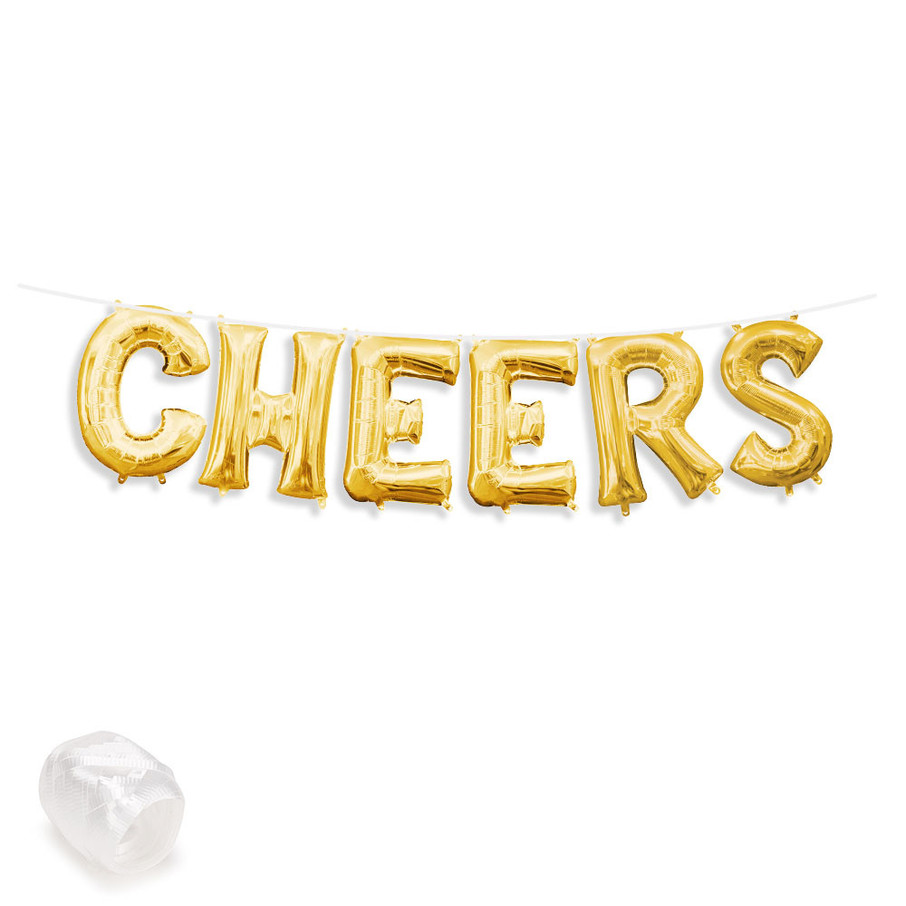 "View larger image of Air-Fillable 13"" Gold Letter Balloon Banner Kit ""CHEERS"""