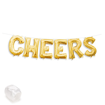 "Air-Fillable 13"" Gold Letter Balloon Banner Kit ""CHEERS"""