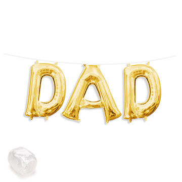 "Air-Fillable 13"" Gold Letter Balloon Banner Kit ""DAD"""