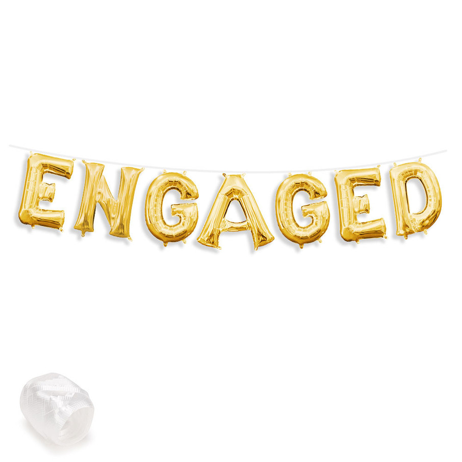 """View larger image of Air-Fillable 13"""" Gold Letter Balloon Banner Kit """"ENGAGED"""""""