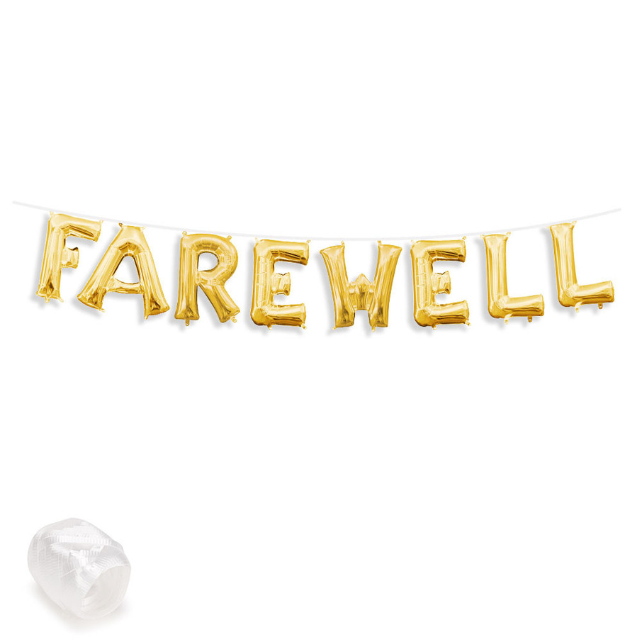 "View larger image of Air-Fillable 13"" Gold Letter Balloon Banner Kit ""FAREWELL"""