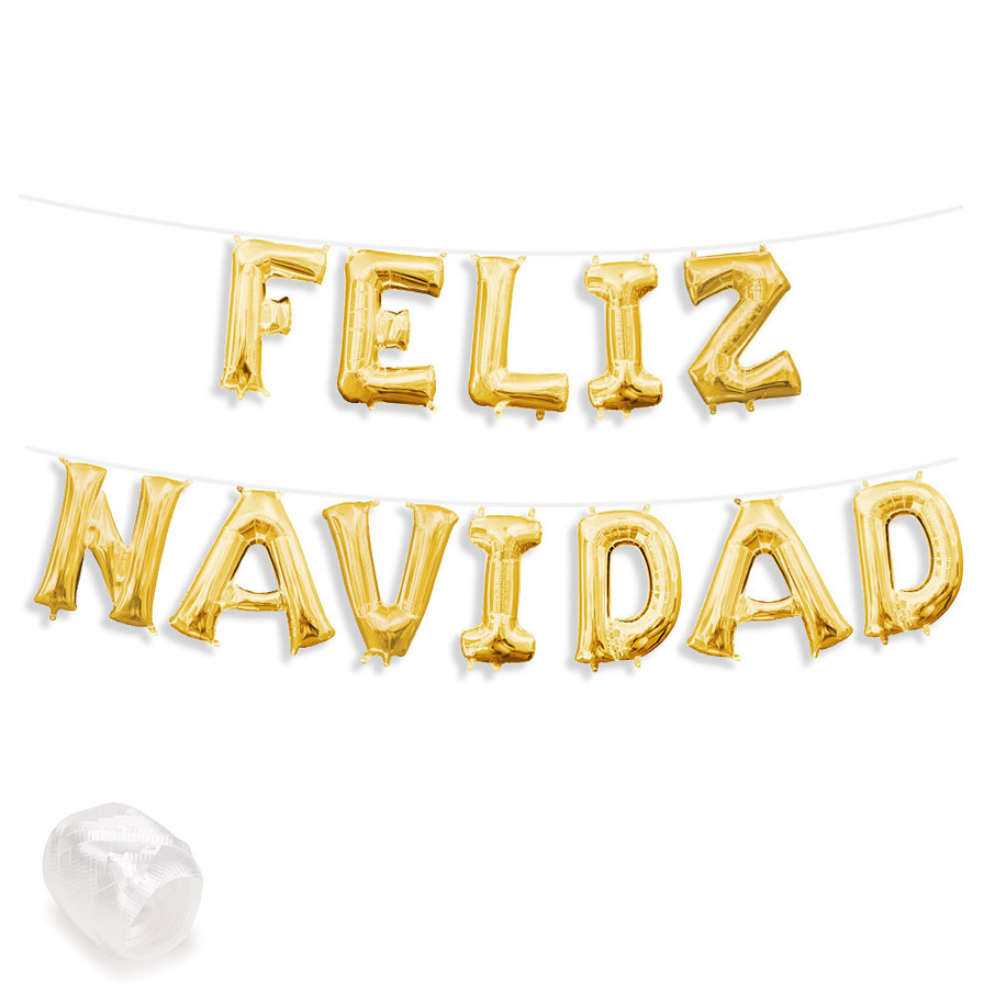 "View larger image of Air-Fillable 13"" Gold Letter Balloon Banner Kit ""FELIZ NAVIDAD"""