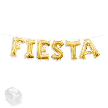 "Air-Fillable 13"" Gold Letter Balloon Banner Kit ""FIESTA"""