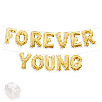 "Air-Fillable 13"" Gold Letter Balloon Banner Kit ""FOREVER YOUNG"""