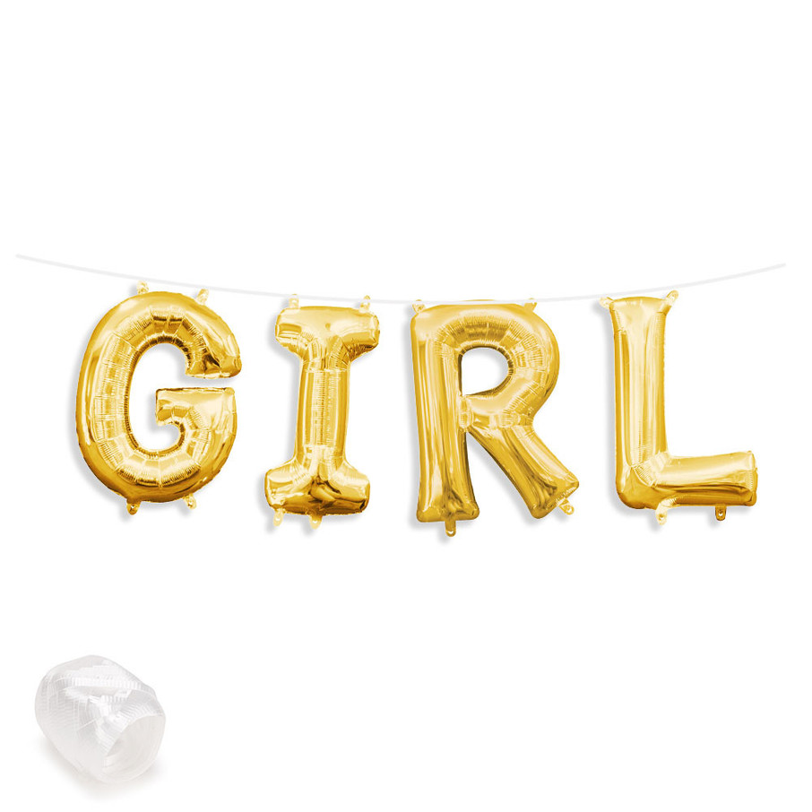"""View larger image of Air-Fillable 13"""" Gold Letter Balloon Banner Kit """"GIRL"""""""