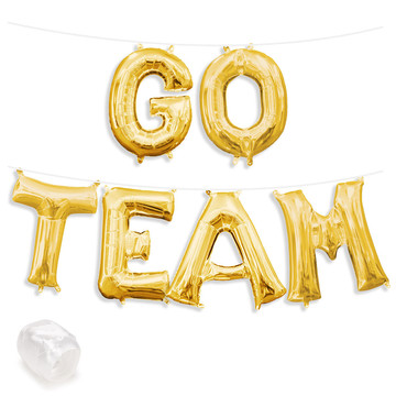 "Air-Fillable 13"" Gold Letter Balloon Banner Kit ""GO TEAM"""