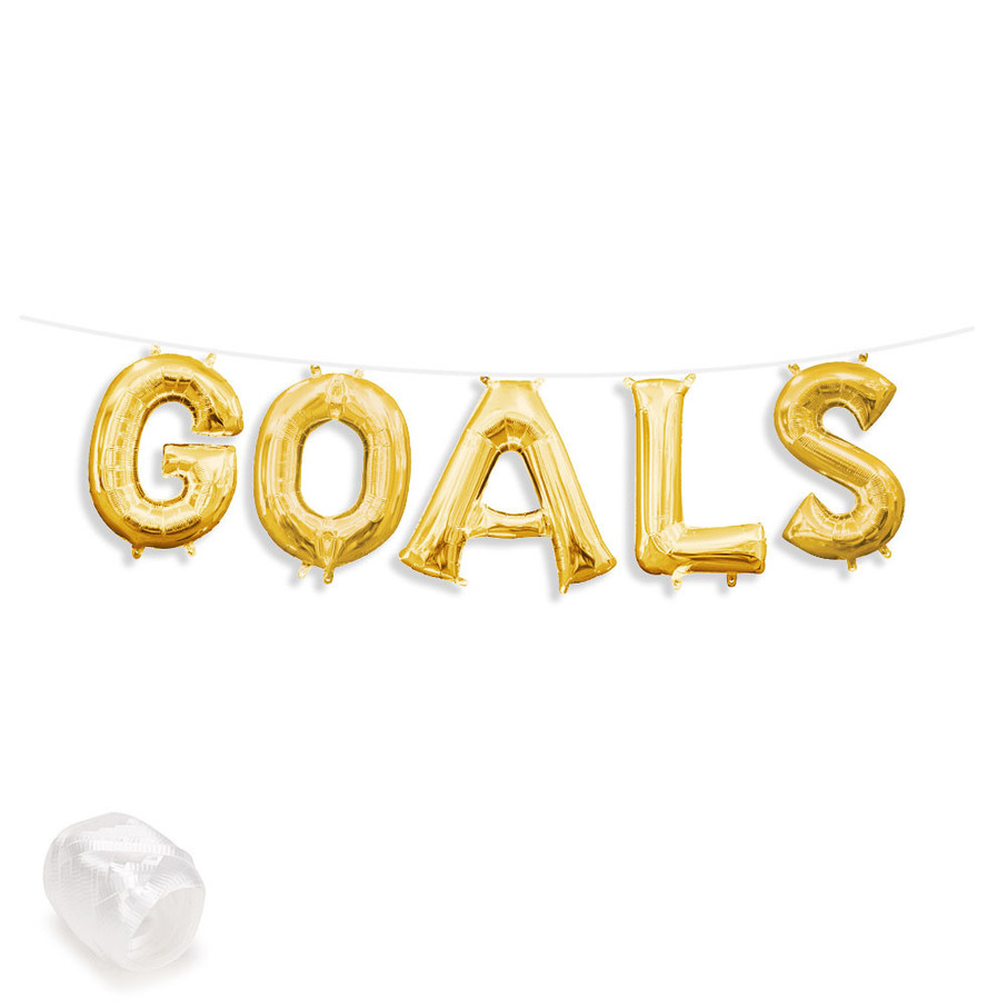 "View larger image of Air-Fillable 13"" Gold Letter Balloon Banner Kit ""GOALS"""