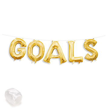 "Air-Fillable 13"" Gold Letter Balloon Banner Kit ""GOALS"""