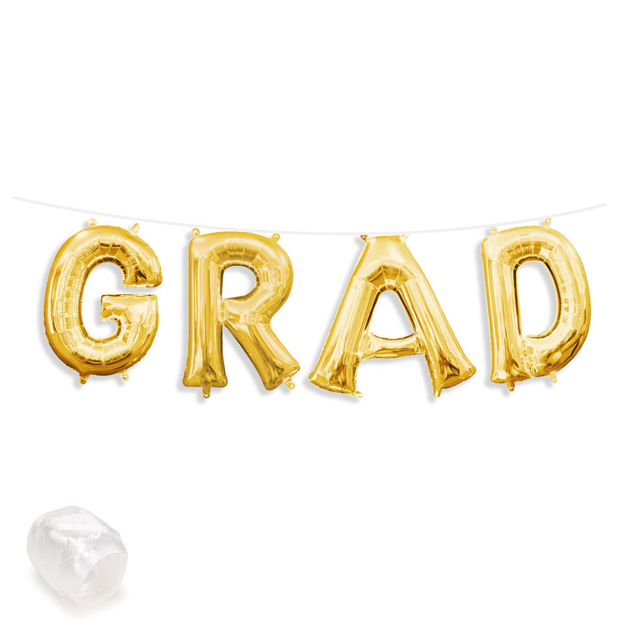"View larger image of Air-Fillable 13"" Gold Letter Balloon Banner Kit ""GRAD"""
