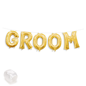 "Air-Fillable 13"" Gold Letter Balloon Banner Kit ""GROOM"""