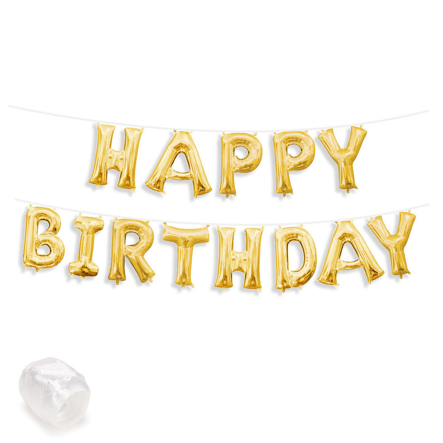 """View larger image of Air-Fillable 13"""" Gold Letter Balloon Banner Kit """"HAPPY BIRTHDAY"""""""