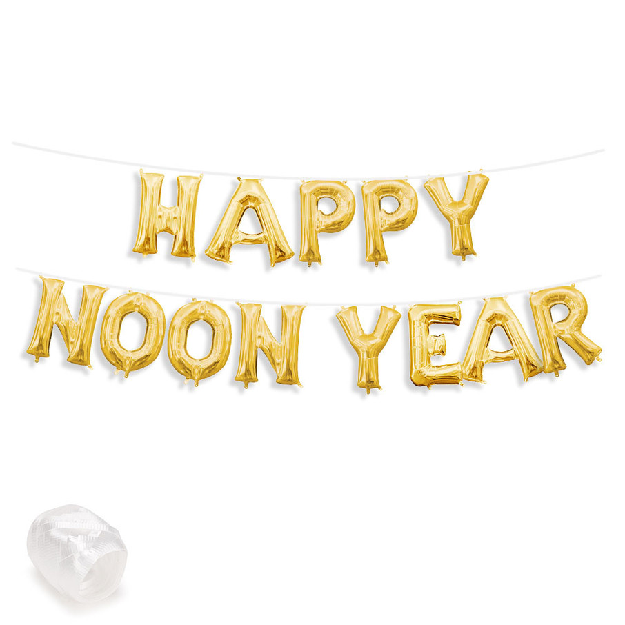 "View larger image of Air-Fillable 13"" Gold Letter Balloon Banner Kit ""HAPPY NOON YEAR"""
