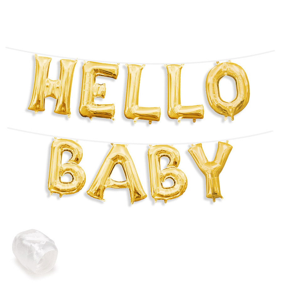 """View larger image of Air-Fillable 13"""" Gold Letter Balloon Banner Kit """"HELLO BABY"""""""