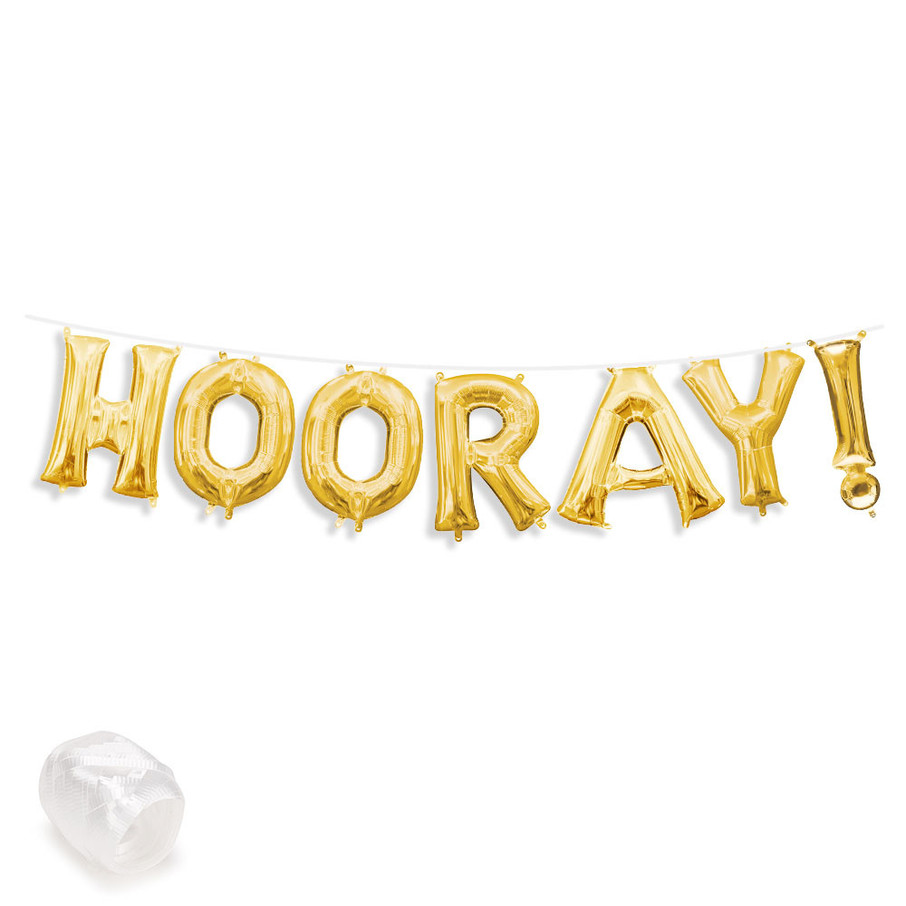 """View larger image of Air-Fillable 13"""" Gold Letter Balloon Banner Kit """"HOORAY!"""""""