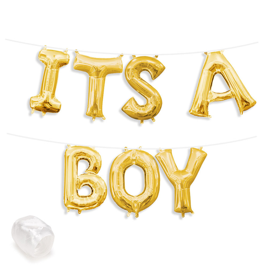 "View larger image of Air-Fillable 13"" Gold Letter Balloon Banner Kit ""ITS A BOY"""