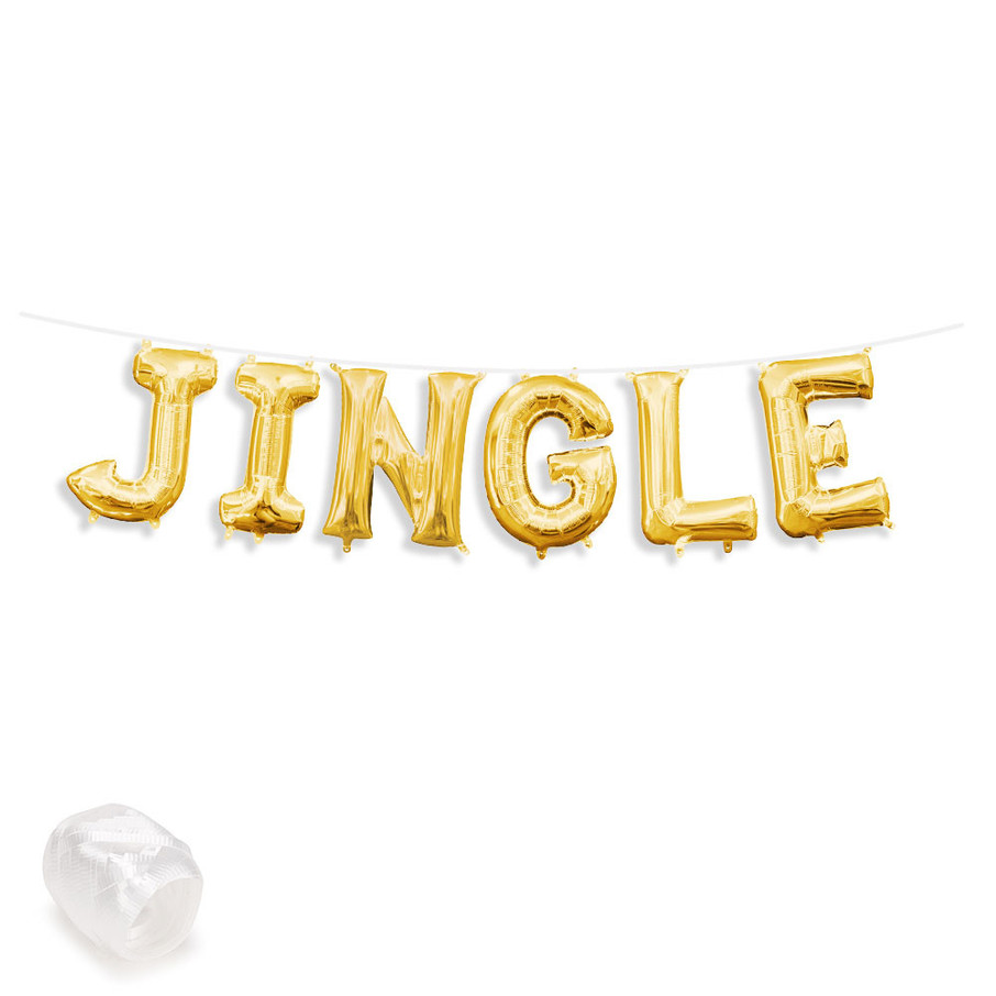"""View larger image of Air-Fillable 13"""" Gold Letter Balloon Banner Kit """"JINGLE"""""""