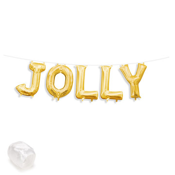 "Air-Fillable 13"" Gold Letter Balloon Banner Kit ""JOLLY"""