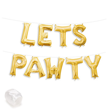 "Air-Fillable 13"" Gold Letter Balloon Banner Kit ""LETS PAWTY"""