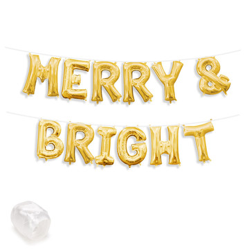 "Air-Fillable 13"" Gold Letter Balloon Banner Kit ""MERRY & BRIGHT"""