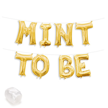 """Air-Fillable 13"""" Gold Letter Balloon Banner Kit """"MINT TO BE"""""""
