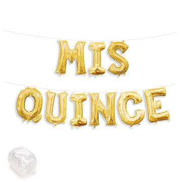 """Air-Fillable 13"""" Gold Letter Balloon Banner Kit """"MIS QUINCE"""""""