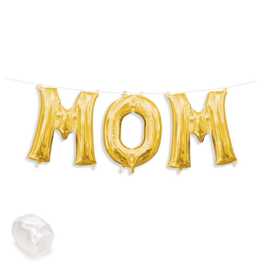 "View larger image of Air-Fillable 13"" Gold Letter Balloon Banner Kit ""MOM"""