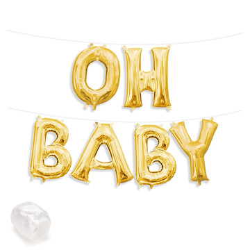 "Air-Fillable 13"" Gold Letter Balloon Banner Kit ""OH BABY"""
