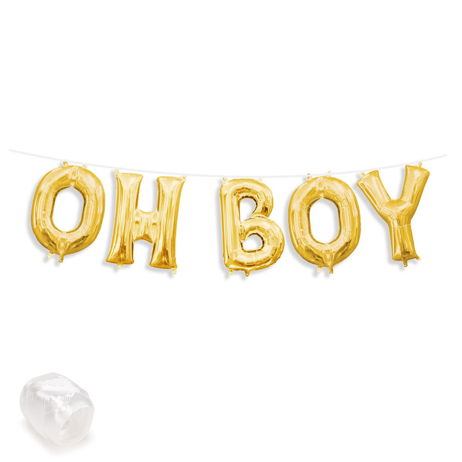 "View larger image of Air-Fillable 13"" Gold Letter Balloon Banner Kit ""OH BOY"""
