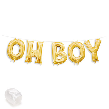 "Air-Fillable 13"" Gold Letter Balloon Banner Kit ""OH BOY"""
