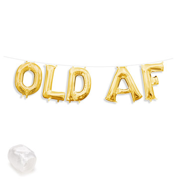 "Air-Fillable 13"" Gold Letter Balloon Banner Kit ""OLD AF"""