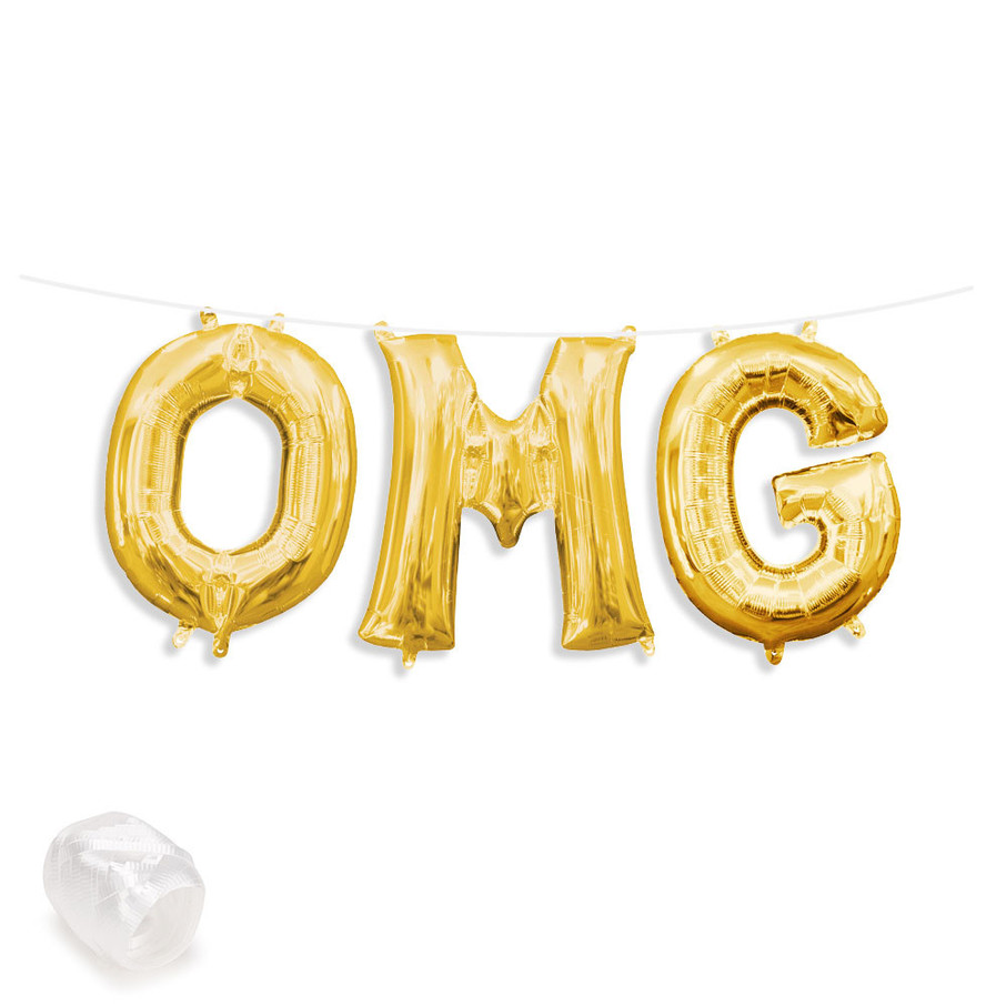 """View larger image of Air-Fillable 13"""" Gold Letter Balloon Banner Kit """"OMG"""""""