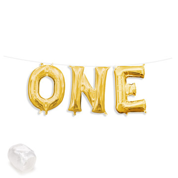 "Air-Fillable 13"" Gold Letter Balloon Banner Kit ""ONE"""